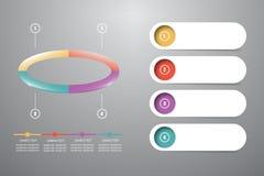 Infographic d'ellipse colorée s'est divisé en 4 parts Images libres de droits