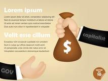 Infographic d'homme capitaliste donnant le sac d'argent à l'homme de gouvernement Images libres de droits