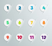Infographic 3D Numbered Step Bubbles 4. Infographic colourful 3D Numbered Step Bubbles 1 to 12 with editable transparent drop shadows made in illustrator Royalty Free Stock Photography