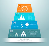 Infographic 3d Pyramid Numbers Design A. Infographic 3d pyramid with numbers 1 to 4 and business graphics and icons on a back drop with editable transparent drop Royalty Free Stock Images