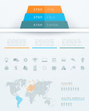 Infographic 3d Pyramid World Map Design stock illustration