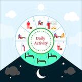 Infographic daglig aktivitet med den kulöra pictogramen royaltyfri illustrationer