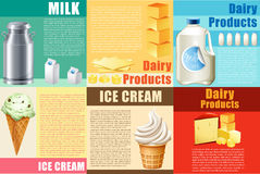 Infographic with dairy products and text. Illustration Stock Photography