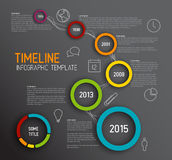 Infographic dark timeline report template with circles Stock Photo