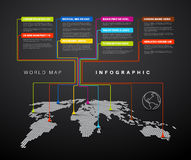 Infographic: Dark World map with pointer marks Stock Photos