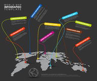 Infographic: Dark World map with pointer marks Stock Photography