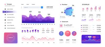 Infographic dashboard template. Admin panel ui, diagrams graphs and progress bars data statistics. Vector modern screen