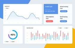 Infographic dashboard template with flat design graphs and charts. Information Graphics elements. EPS 10 vector illustration