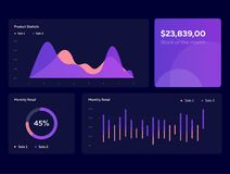 Infographic dashboard template with flat design graphs and charts in dark colors. Information Graphics elements Stock Photos