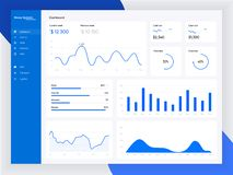 Infographic dashboard template with flat design graphs and charts. Information Graphics elements. EPS 10 stock illustration