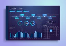 Infographic dashboard template with flat design graphs and charts. Information Graphics elements. Modern Vector With Annual Report vector illustration