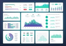 Free Infographic Dashboard Template. Simple Green Blue Design Of Interface, Admin Panel With Graphs, Chart Diagrams. Vector Royalty Free Stock Image - 131377116