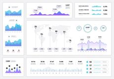 Infographic dashboard. Ux ui interface, information panel with finance graphs, pie chart and column diagrams. Progress. Vector report graph and diagram vector illustration