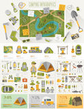 Infographic de acampamento ajustou-se com cartas e outros elementos ilustração do vetor