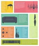 Infographic de los iconos caseros interiores de los muebles stock de ilustración