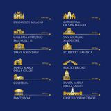 Infographic de los símbolos de Italia, señales en color oro Ilustración del vector Roma, Venecia, Milán, Italia Foto de archivo libre de regalías