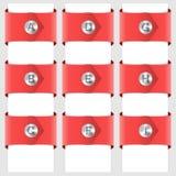 Infographic dei nastri rossi con un ribattino Fotografie Stock
