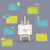 Infographic dei rifornimenti di arte per dipingere Immagini Stock