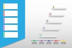 Infographic del rectángulo biselado con las etiquetas en blanco y los cinco stock de ilustración