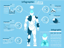 Infographic demographic elements chart and graphic cyborg man. Infographic demographic elements chart and graphic for web Royalty Free Stock Photo
