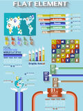 Infographic demographic elements chart and graphic flat collection. Infographic demographic elements chart and graphic for web Stock Photos