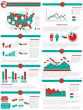Infographic demographic elements chart and graphic. For web Stock Image