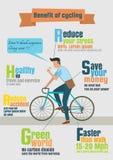 Infographic des Fahrradreiters, Nutzen des Radfahrens lizenzfreie abbildung