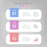 Infographic des Schrittes, flaches Design des Geschäftsikonenvektors Stockfotografie