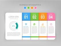 Infographic des Schrittes, flaches Design des Geschäftsikonenvektors Lizenzfreie Stockfotos