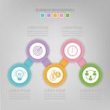 Infographic des Schrittes, flaches Design des Geschäftsikonenvektors Stockbild