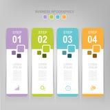 Infographic des Schrittes, flaches Design des Geschäftsikonenvektors Lizenzfreies Stockbild