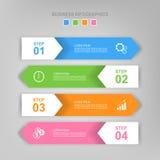 Infographic des Schrittes, flaches Design des Geschäftsikonenvektors Lizenzfreies Stockfoto