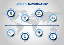 Infographic design with award icons Royalty Free Stock Image