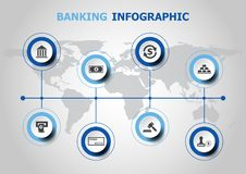 Infographic design with banking icons. Stock vector Royalty Free Stock Photography