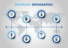 Infographic design with beverage icons Royalty Free Stock Photos