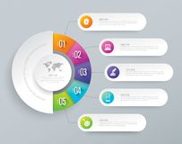 Infographic design and business icons with 5 options. Abstract 3D digital illustration Infographic. Vector illustration can be used for workflow layout, diagram Stock Photography