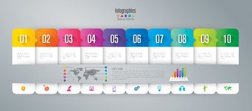 Infographic design and business icons with 10 options. Royalty Free Stock Photos