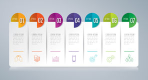 Infographic design and business icons with 7 options. Stock Photography