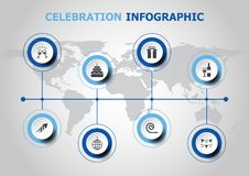 Infographic design with celebration icons Stock Images