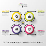 Infographic design circles on the grey background. Vector Stock Photos