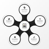 Infographic design circles on the grey background. Vector Stock Image