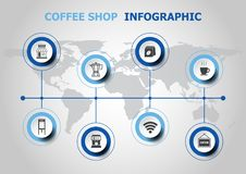 Infographic design with coffee shop icons Stock Images