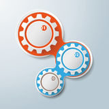 Infographic Design Colored Chains White Gears 3 Options. Infographic design with colored and white gears on the grey background. Eps 10 vector file Stock Photography