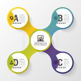 Infographic design with colored circles on the grey background. Business concept. Vector illustration Stock Photo