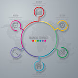 Infographic design with colored. And white circles on the grey background. Eps 10 vector file Stock Image