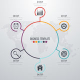 Infographic design with colored. And white circles on the grey background. Eps 10 vector file Stock Photo