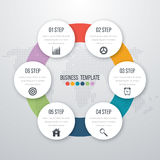 Infographic design with colored. And white circles on the grey background. Eps 10 vector file Stock Photography