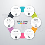 Infographic design with colored. And white circles on the grey background. Eps 10 vector file Stock Photos