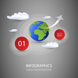 Infographic Design. Colorful Infographic Design Template with Circular Labels, Earth Globe, Clouds and Flying Airplane - Illustration in Freely Editable Vector Stock Photo