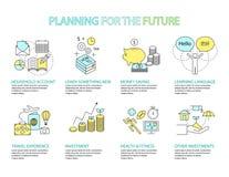 Infographic design concept Planning the future. Set of Flat line icon & infographic design concept Planning the future Stock Photos